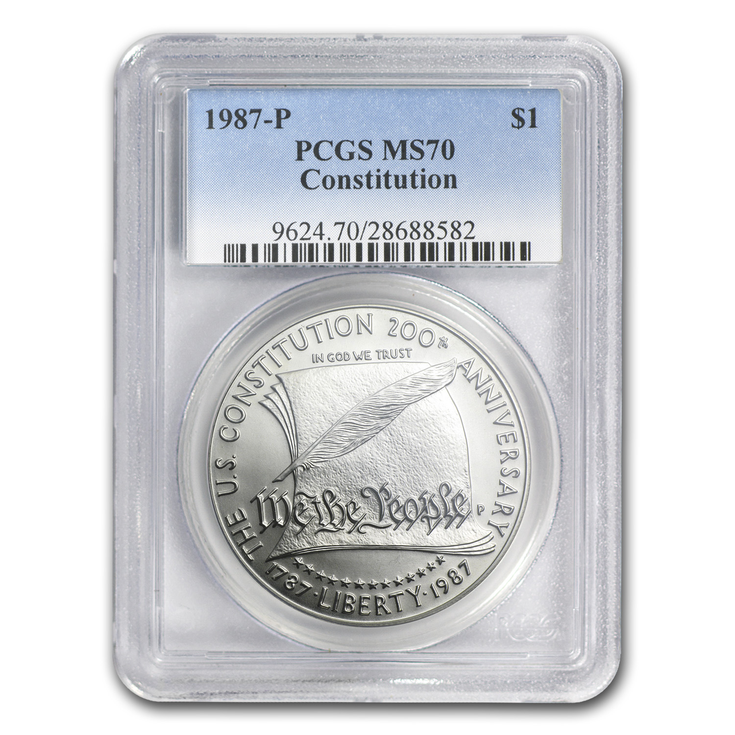 1987-P Constitution $1 Silver Commemorative MS-70 PCGS